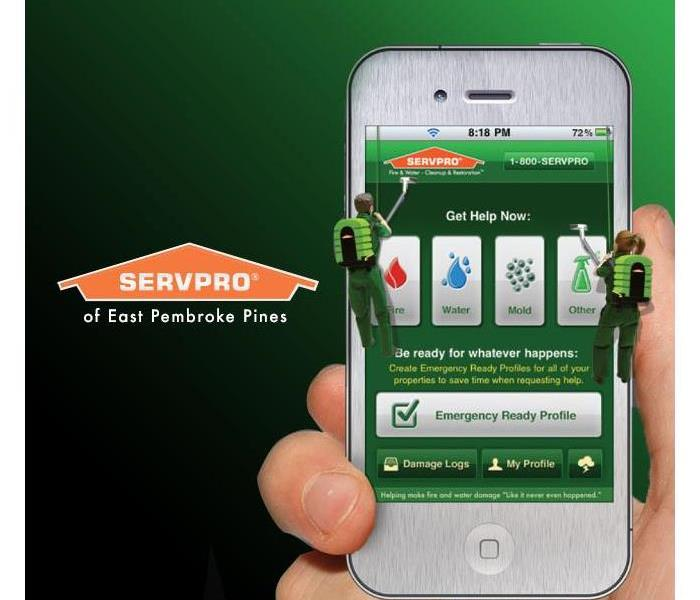 Silver cell phone showing the ERP app on a green background.